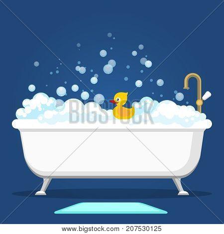 Bathtub vector illustration. Relax bathroom interior with vintage bath and soap foam bubbles