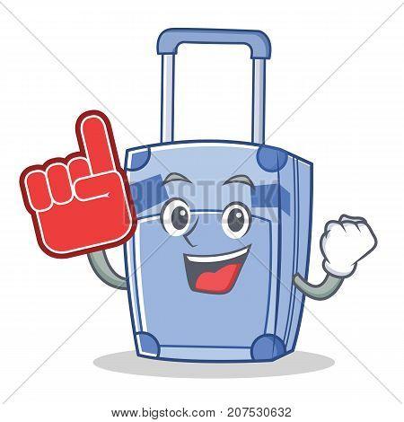 Foam finger suitcase character cartoon style vector illustration