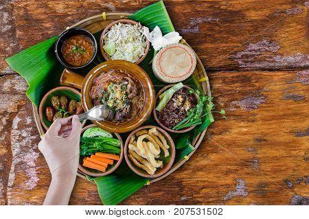 Tradition Northern Thai Food. Thai Cuisine Chili Sauce, Thai Sausages , Deep Fried Pork Skin, Steame