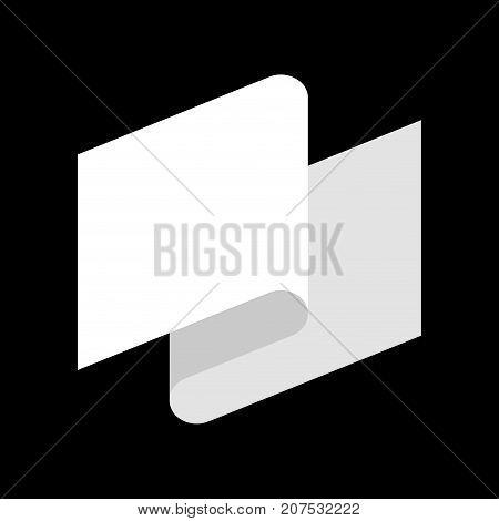 White Flag Defeat Symbol. White Tape. Vector Illustration