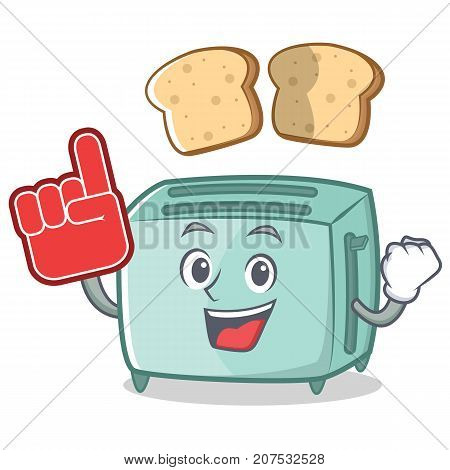 Foam finger toaster character cartoon style vector illustration