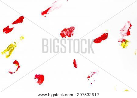 Abstract Red Watercolor On White Background.the Color Splashing On The Paper