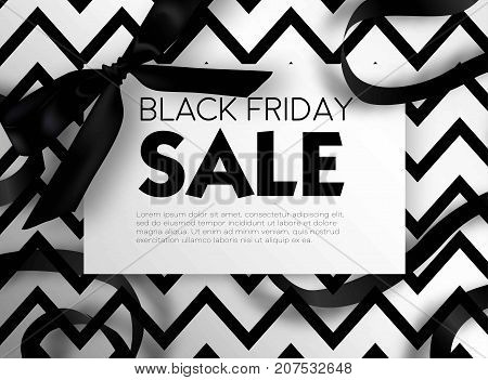 Black Friday sale discount promo offer poster or advertising flyer and coupon. Vector elegant design of piece of paper and realistic black gift bow tie ribbon for premium fashion shop sale on zigzag black background.