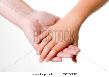 Parent holding the hand of a child poster