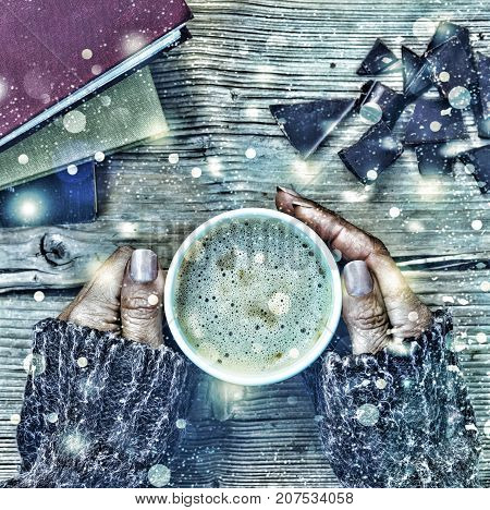 New Year Christmas. A Cup Of Coffee Or A Cup Of Tea In His Hand, And Women Crushed Dark Chocolate, S