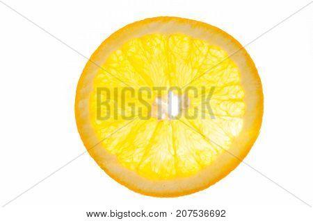 a slice of orange view in backlight