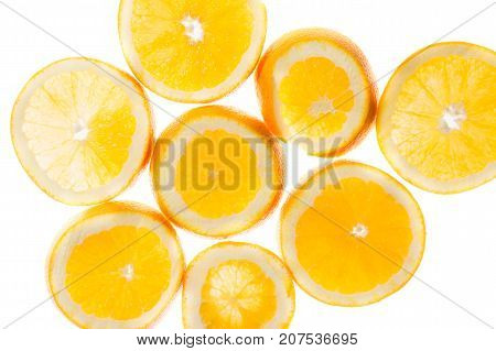 slices of orange background view in backlight
