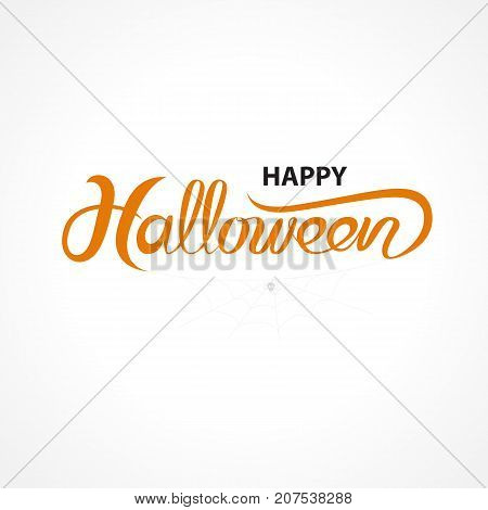 Halloween banner calligraphy.Halloween trick or treat party celebration.Happy Halloween vector lettering.Holiday calligraphy with spider and web for bannerpostergreeting cardparty invitation.Vector isolated illustration.