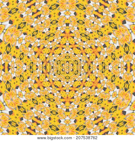 Abstract geometric background. Regular intricate pattern yellow, orange and gray, centered.