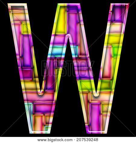 3D render of neon bricks pattern alphabet capital letter W