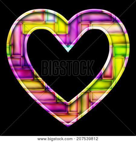 3D render of neon bricks pattern heart symbol