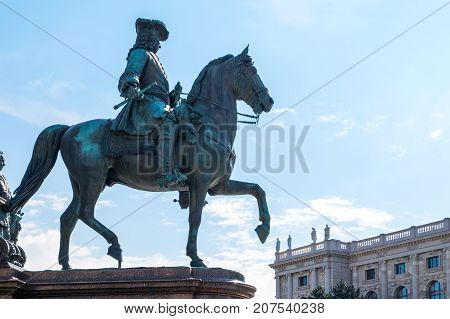 Austria Vienna,a courtier on horseback on the basement of the Empress Maria Theresia Monument