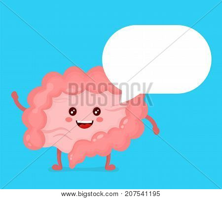 Strong healthy happy Intestine character talking dialog bubble speech. Vector flat cartoon illustration icon design. Isolated on white background. Digestive tract, Healthy food nutrition concept