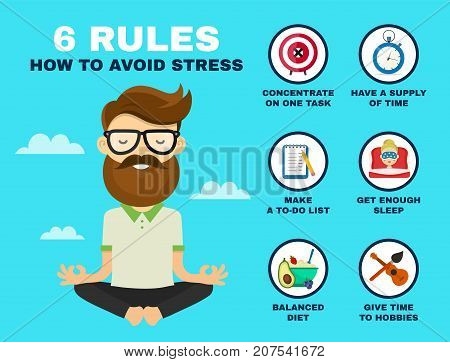 6 rules to avoid stress infographic. Young hipster guy man in lotus pose relax. Vector flat cartoon character illustration icon design. Stress infographic concept