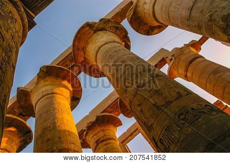 Ancient columns of Luxor. Valley of the kings