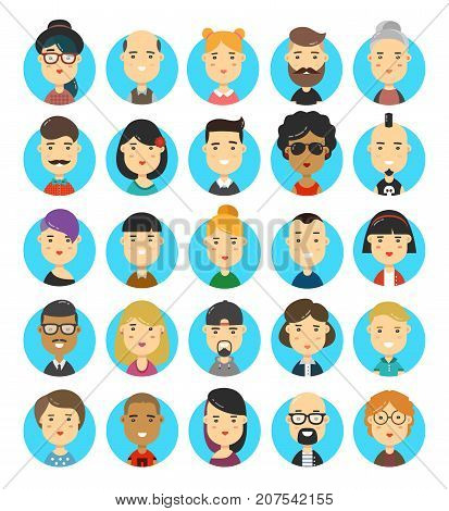 25 flat modern style hipster people characters avatars icons set. Many modern city hipsters people vector cartoon illustration icon design. Isolated on white background. Human portraits set