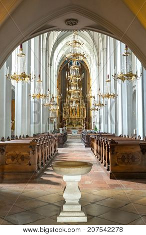 Vienna Austria - August 6 2016: Hofburg area the nave of the Augustine church