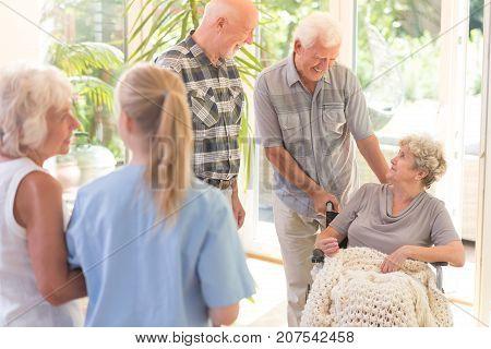 Men Visiting Sister