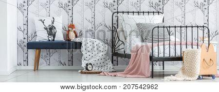 Pink Blanket On Child's Bed