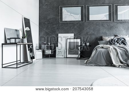 Grey Sophisticated Bedroom With Posters