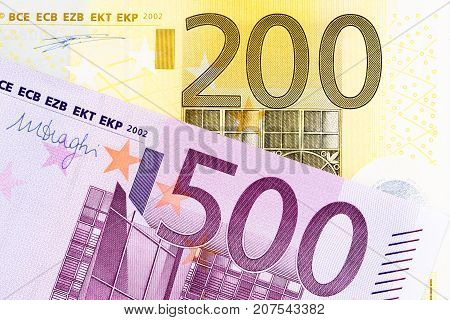 European Banknotes Of Large Amounts.