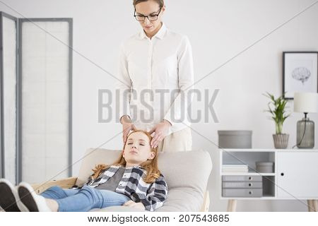 Psyhotherapist Doing Head Massage