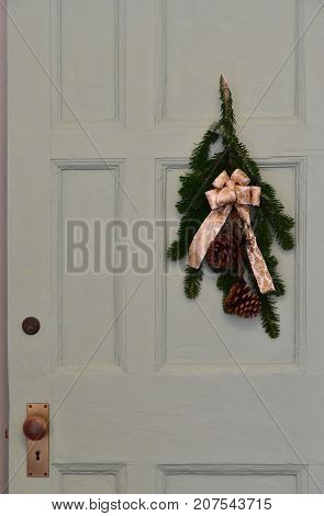 The wreath which was hung at the door of the room
