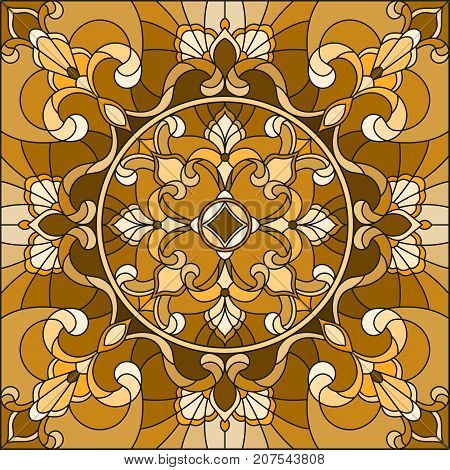 Illustration in stained glass style with abstract swirls and leaves on a light backgroundsquare image sepia