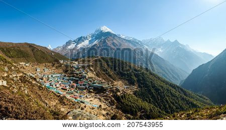 Panoramic view of Namche Bazaar and Thamserku mountain in Solukhumbu district, Nepal