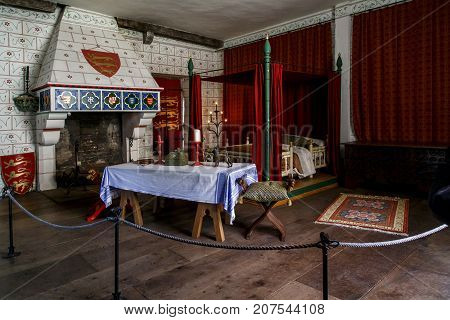 LONDON, GREAT BRITAIN - MAY 16, 2014: This is the royal's bedroom in front of the fireplace in the tower of St. Thomas of the Tower of London.