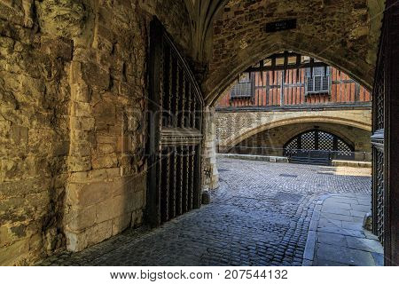 LONDON, GREAT BRITAIN - MAY 16, 2014: It is the gate in the inner walls of the Tower of London under the Bloody Tower.