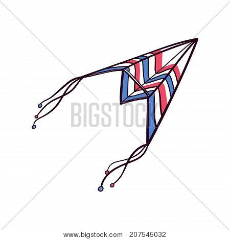 Hand drawn doodle, sketch style paper plane, airplane kite flying in the sky , vector illustration isolated on white background. Sketch, doodle plane, airplane kite, hand drawn marker illustration