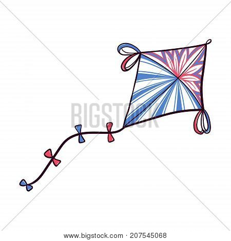 Hand drawn doodle, sketch style diamond kite decorated with patterns and ribbons, vector illustration isolated on white background. Sketch, doodle diamond shaped kite, hand drawn illustration