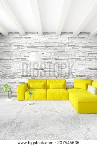 Yellow loft bedroom or livingroom in modern style Interior design with exuding wall and stylish furniture. 3D Rendering. poster
