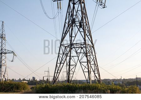Power line technology voltage electrecity pylon landscape.