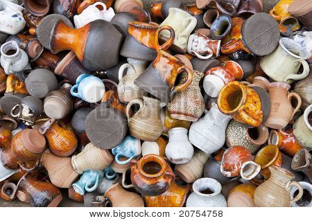 Small Ceramic  Jugs And Cups Macro