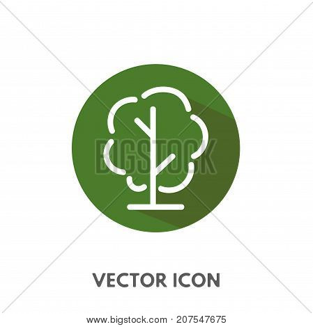 Vector doodle tree icon. Stock round symbol for design.