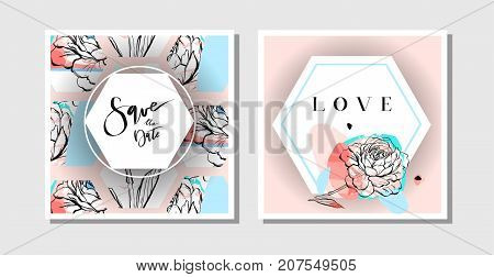 Hand drawn vector abstract creative collage freehand textured save the date greeting cards collection set template with flowers isolated on pastel background.Wedding, save the date, birthday, rsvp