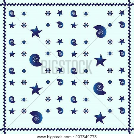 Blue sea shells abstract pattern background stock vector