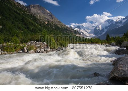 Swiss mountain landscape of the Morteratsch Glacier Valley hiking trail in the Bernina Mountain Range