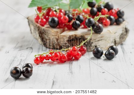 Redcurrants And Blackcurrants On White Wooden Background