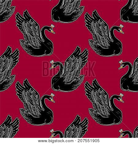 Seamless vintage pin-up pattern with black swan princess. Lovely swans classic flash tattoo style element. Design for textiles, print in cute style. Pop art. Fashionable vintage repeating background.