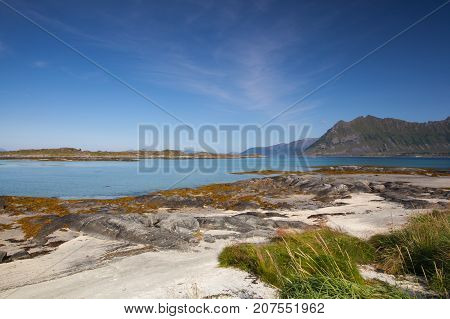 On the coast in Gimsoysand Lofoten island Norway