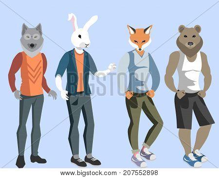 Anthropomorphic animals man. Vector illustration on white background