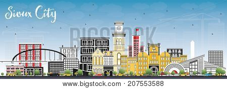 Sioux City Iowa Skyline with Color Buildings and Blue Sky. Business Travel and Tourism Illustration with Historic Architecture.