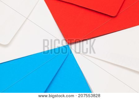 The Different colored envelopes on the table