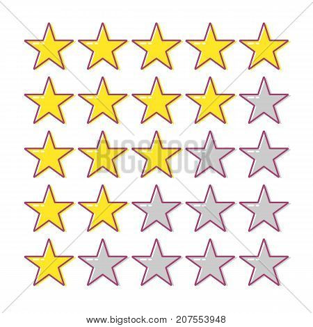 5 star rating. Collection of cartoon vector icons. Yellow stars for app web or game. Feedback concept. Ranking system. Vector illustration on white background.
