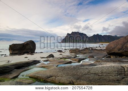 Beautiful view to Eggum beach in Norway Lofoten islands Norway