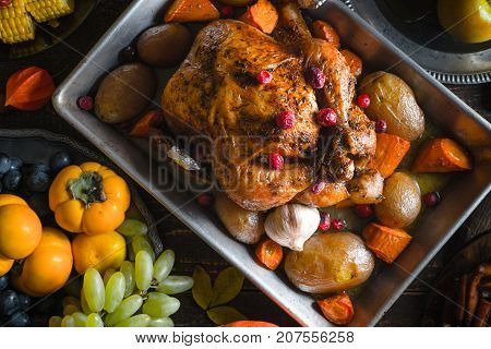 Thanksgiving turkey, vegetables and fruits close-up horizontal