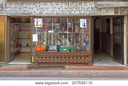 Istanbul Turkey - August 10 2017: entrance and window shop of hookah store in Istanbul Turkey